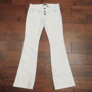 bebe White Flare Leg Button Fly Jeans